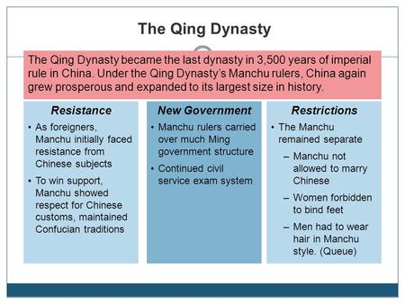 the qing dynasty became the last dynasty in 3500 years of imperial rule in china