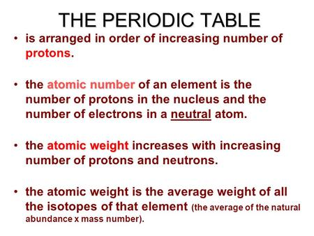 The periodic table is arranged in order of increasing number of the periodic table is arranged in order of increasing number of protons atomic numberthe atomic urtaz Images