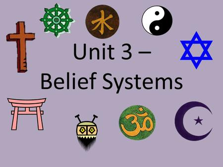 Unit 3 – Belief Systems. Map of World Belief Systems.