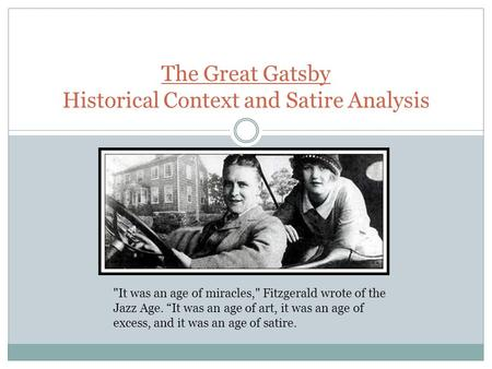 satire in the great gatsby