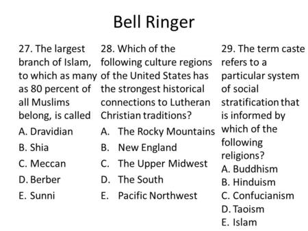 Bell Ringer 27. The largest branch of Islam, <strong>to</strong> which as many as 80 percent of all Muslims belong, is called A.Dravidian B.Shia C.Meccan D.Berber E.Sunni.