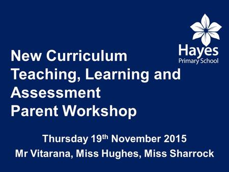 New Curriculum Teaching, Learning and Assessment Parent Workshop Thursday 19 th November 2015 Mr Vitarana, Miss Hughes, Miss Sharrock.
