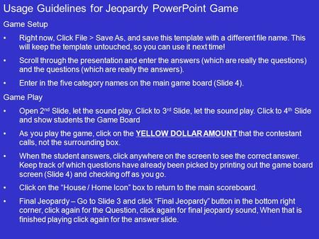 usage guidelines for jeopardy powerpoint game - ppt download, Jeopardy Powerpoint Game Template, Powerpoint templates