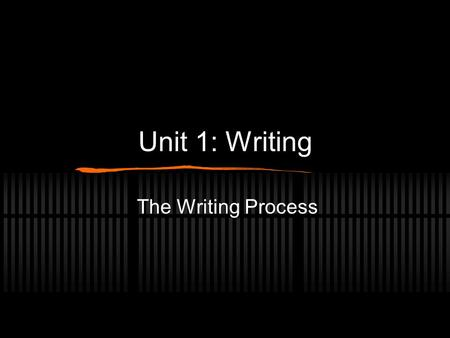 Unit 1: Writing The Writing Process. Stages of the Writing Process 1. Pre-Writing 2. Writing 3. Revising and Rewriting 4. Editing and Proofreading.