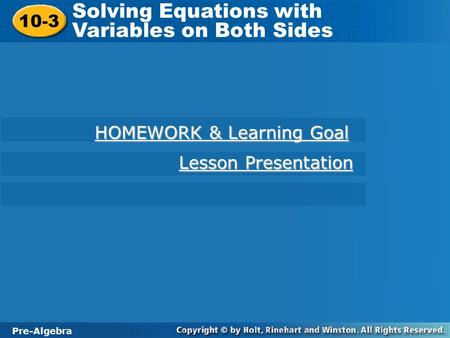 Solving Equations with Variables on Both Sides - ppt video online ...