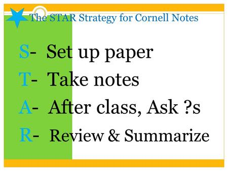 The STAR Strategy for Cornell Notes