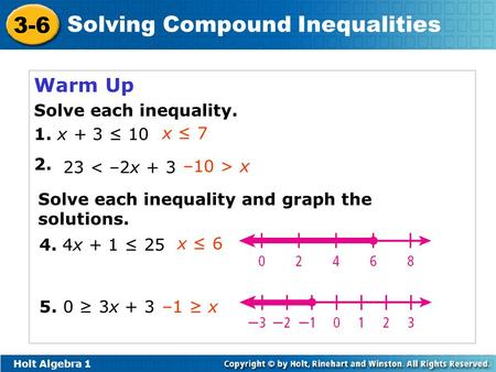 Warm Up Solve Each Inequality 1 X 3 X 7 23 2x Ppt Video