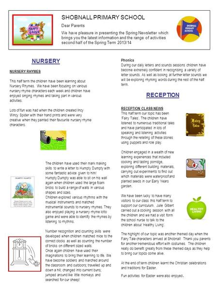 SHOBNALL PRIMARY SCHOOL Dear Parents We have pleasure in presenting the Spring Newsletter which brings you the latest information and the range <strong>of</strong> activities.