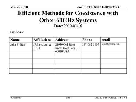 Doc.: IEEE 802.11-10/0231r3 Submission March 2010 John R. Barr, JRBarr, Ltd. & NiCTSlide 1 Efficient Methods for Coexistence with Other 60GHz Systems Date: