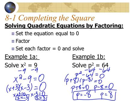 8-1 Completing the Square