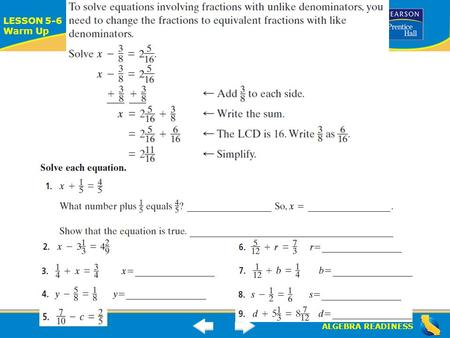 ALGEBRA READINESS LESSON 5-6 Warm Up Lesson 5-6 Warm-Up.