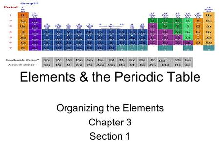 Elements & the Periodic Table Organizing the Elements Chapter 3 Section 1.