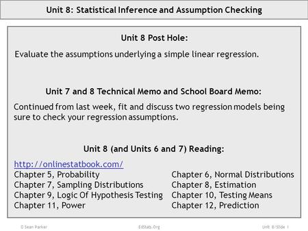 Unit 8/Slide 1 © Sean Parker EdStats.Org Unit 8: <strong>Statistical</strong> Inference and Assumption Checking Unit 8 Post Hole: Evaluate the assumptions underlying a.
