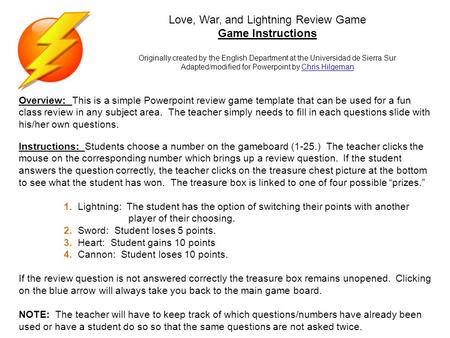 Love, War, and Lightning Review Game Game Instructions Originally ...