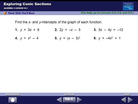 ALGEBRA 2 LESSON 10-1 Find the x- and y-intercepts of the graph of each function. (For help, go <strong>to</strong> Lessons 2-2, 5-2, and 5-5.) Exploring Conic Sections.