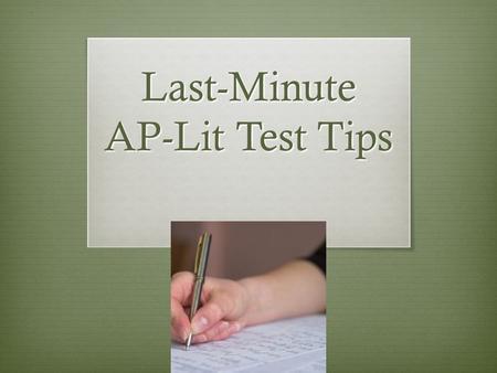 ap english literature exam tips