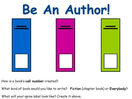 Be An Author! How is a book's call number created? What kind of book would you like to write? Fiction (chapter book) or Everybody? What will your spine.