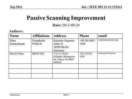 Doc.: IEEE 802.11-11/1233r3 Submission Sep 2011 Slide 1 Passive Scanning Improvement Date: 2011-09-20 Authors: