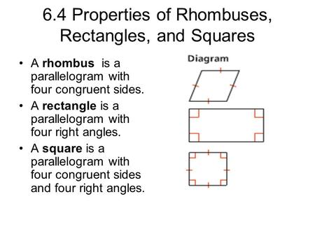Geometry 6-4 Properties of Rhombuses, Rectangles, and ...