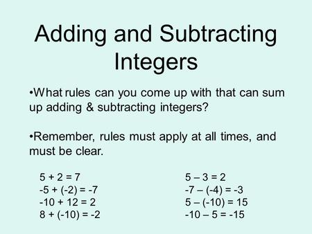 1-5 Subtracting Integers Course 3 Warm Up Warm Up Problem of the Day ...