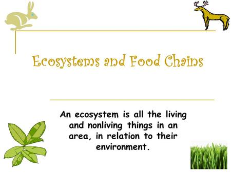 Ecosystems and Food Chains An ecosystem is all the living and nonliving things in an area, in relation to their environment.
