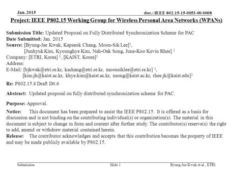 Doc.: IEEE 802.15-15-0053-00-0008 Submission Jan. 2015 Byung-Jae Kwak et al., ETRISlide 1 Project: IEEE P802.15 Working Group for Wireless Personal Area.