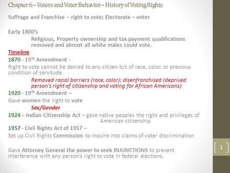 Chapter 6: Voters and Voter Behavior. *useful notes Right to ...