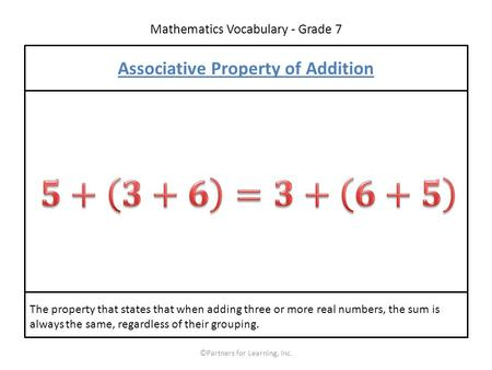Mathematics Vocabulary - Grade 7 ©Partners for Learning, Inc. Associative Property of Addition The property that states that when adding three or more.