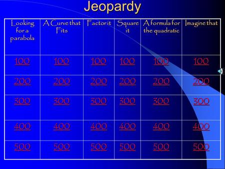 Jeopardy Looking for a parabola A Curve that Fits Factor it Square it A formula for the quadratic Imagine that 100 200 300 400 500.