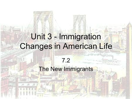 Unit 3 - Immigration Changes in American Life
