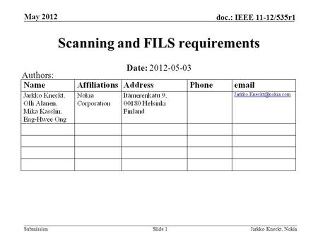 Submission doc.: IEEE 11-12/535r1 May 2012 Jarkko Kneckt, NokiaSlide 1 Scanning and FILS requirements Date: 2012-05-03 Authors: