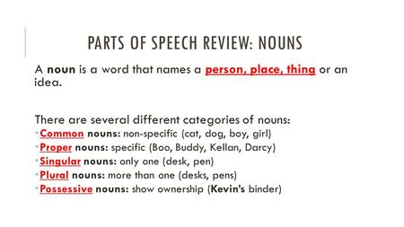 PARTS OF SPEECH REVIEW: NOUNS A noun is a word that names a person, place, thing or an idea. There are several different categories of nouns:  Common.