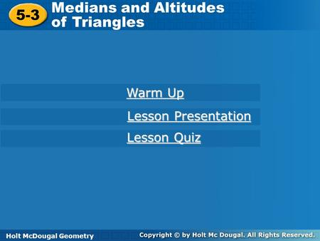 5 3 Medians And Altitudes Of Triangles Ppt Video Online Download