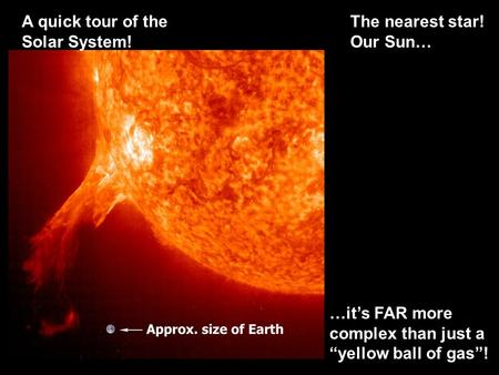 "A quick tour of <strong>the</strong> <strong>Solar</strong> <strong>System</strong>! <strong>The</strong> nearest star! Our Sun… …it's FAR more complex than just a ""yellow ball of gas""!"
