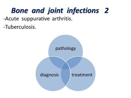 Bone and joint infections 2 -Acute suppurative <strong>arthritis</strong>. -Tuberculosis. pathology treatmentdiagnosis.