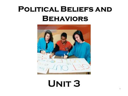<strong>Political</strong> Beliefs <strong>and</strong> Behaviors Unit 3 1. PAY ATTENTION 2.