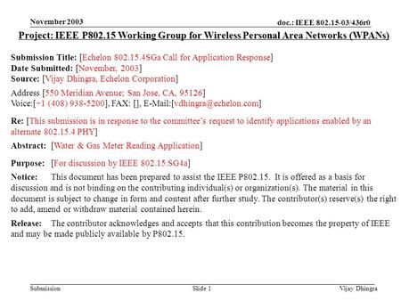 Doc.: IEEE 802.15-03/436r0 Submission November 2003 Vijay DhingraSlide 1 Project: IEEE P802.15 Working Group for Wireless Personal Area Networks (WPANs)
