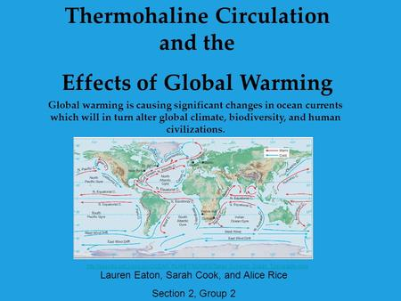 Thermohaline Circulation and the Effects of <strong>Global</strong> <strong>Warming</strong> <strong>Global</strong> <strong>warming</strong> is causing significant changes in ocean currents which will in turn alter <strong>global</strong>.