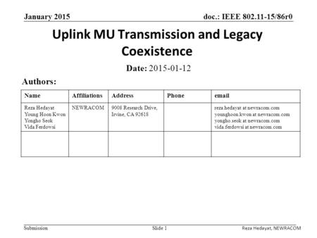 Doc.: IEEE 802.11-15/86r0 Submission January 2015 Uplink MU Transmission and Legacy Coexistence Date: 2015-01-12 Authors: Slide 1 NameAffiliationsAddressPhoneemail.