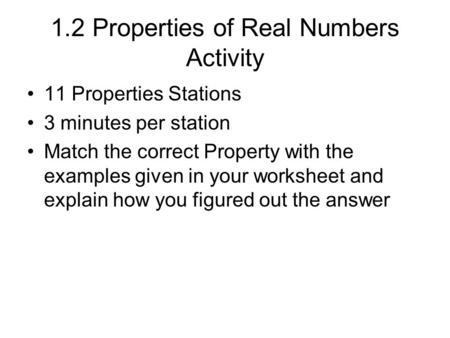 1.2 Properties of Real Numbers Activity