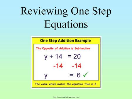 Reviewing One Step Equations.