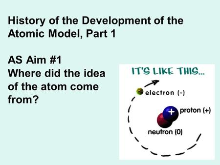 <strong>History</strong> <strong>of</strong> the Development <strong>of</strong> the <strong>Atomic</strong> <strong>Model</strong>, Part 1 AS Aim #1 Where did the idea <strong>of</strong> the <strong>atom</strong> come from?