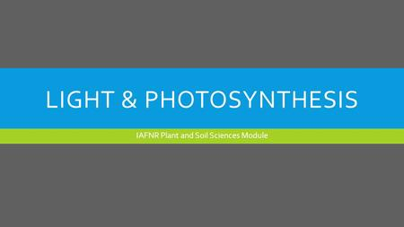 LIGHT & <strong>PHOTOSYNTHESIS</strong> IAFNR <strong>Plant</strong> and Soil Sciences Module.