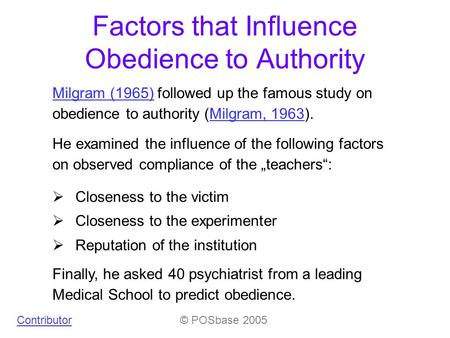 behavioral study of obedience summary
