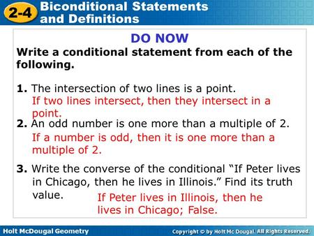 Biconditional Statements and Definitions ppt download