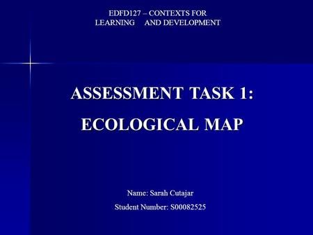 ASSESSMENT TASK 1: ECOLOGICAL MAP EDFD127 – CONTEXTS <strong>FOR</strong> LEARNING AND DEVELOPMENT Name: Sarah Cutajar Student <strong>Number</strong>: S00082525.
