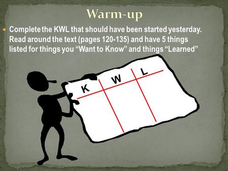 "Complete the KWL that should have been started yesterday. Read around the text (pages 120-135) and have 5 things listed for things you ""Want to Know"" and."