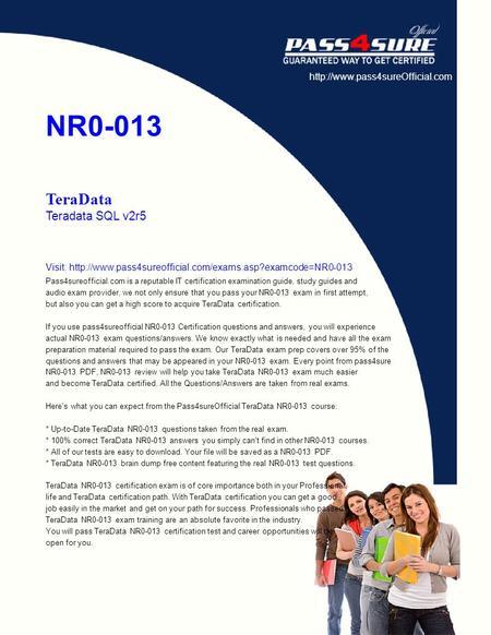 NR0-013 TeraData Teradata SQL v2r5 Thousands of IT Professionals ...