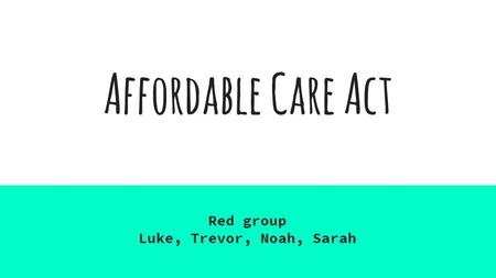 Affordable <strong>Care</strong> Act Red group Luke, Trevor, Noah, Sarah.
