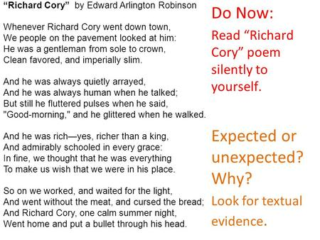 what kind of poem is richard cory